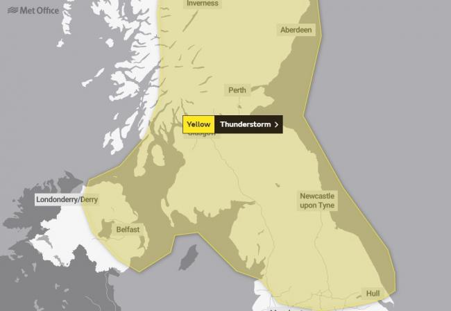 WARNING: The yellow alert will be in place on Thursday, July 11 Picture: Met Office