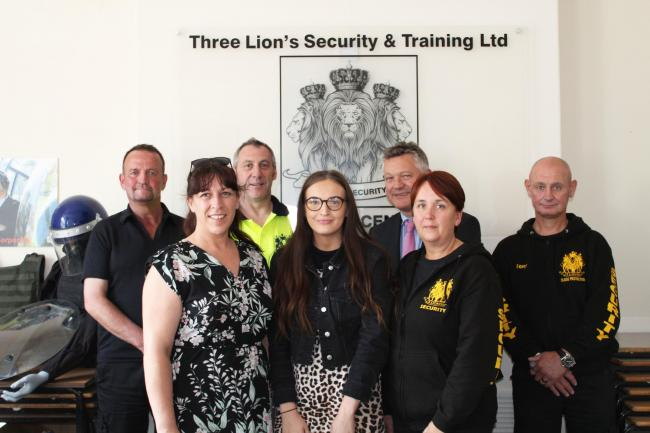 Specialist: The Three Lions Security with Copeland mayor Mike Starkie.
