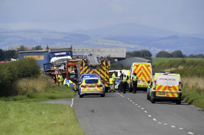 Tragedy: The scene of the double fatal road traffic collision on the B5302 Wigton to Silloth road. The collision occurred between Wheyrigg and Abbeytown close to the junction for Dundraw.
