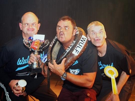 WORLD GURNING CHAMPIONSHIP - THREE UGLY AMIGOS:  The three ugliest men in the world of gurning give us a smile. Champion Tommy Mattinson (centre) with runners up
