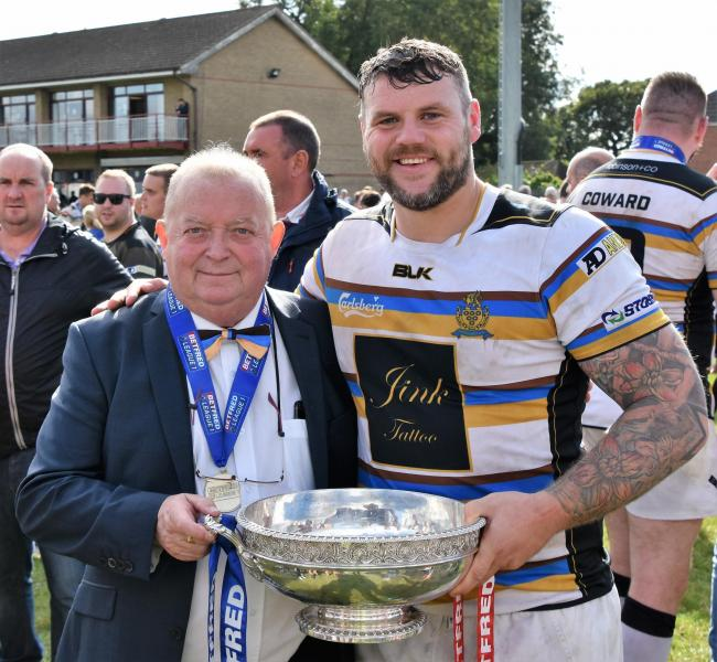 Coventry Bears v Whitehaven. Chairman Tom Todd and captain Marc Shackley. Picture: Ben Challis.