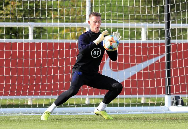 England training: Dean Henderson in action yesterday