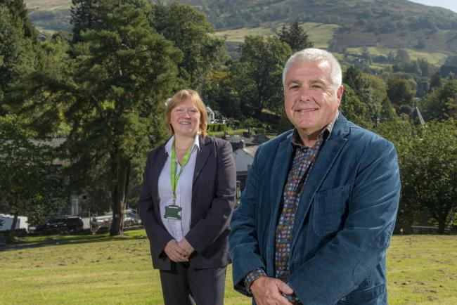 Angie Anthonisz, UoC principal lecturer in tourism management, and Professor of Practice Ian Stephens (ex Cumbria Tourism MD) at University of Cumbria Ambleside Campus..19th September 2019.Photograph Jonathan Becker.beckerphoto.co.uk.
