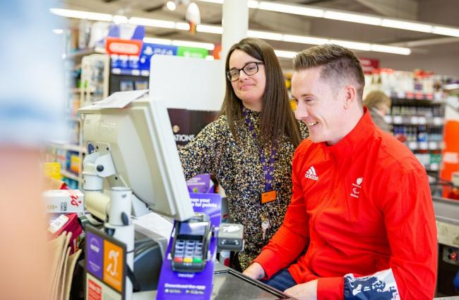 Great Britain's Terry Bywater visiting his local Sainsbury's store in Saltburn