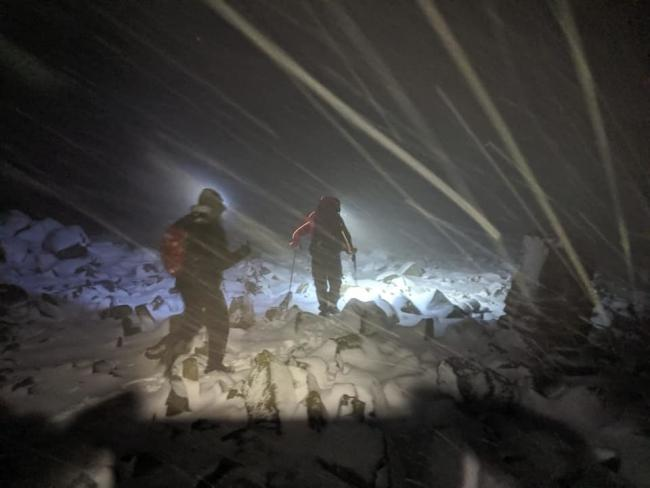 RESCUE: Heavy snow on Scafell Pike