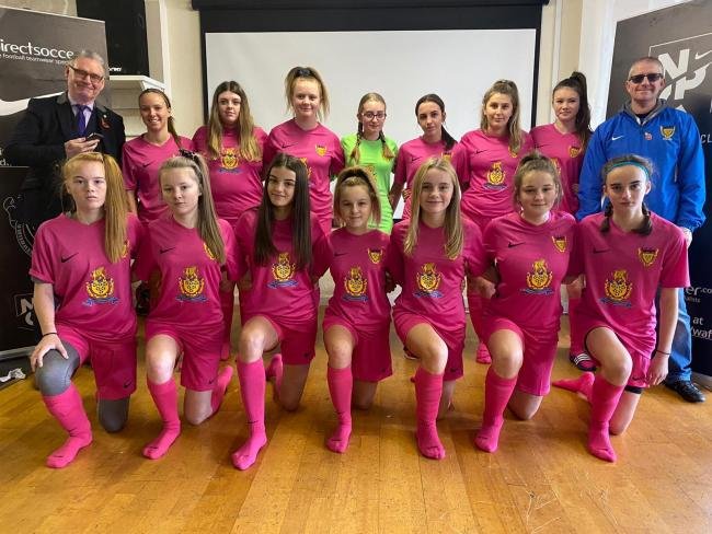 n Whitehaven AFC's girls' under-14s in their new sponsored kits