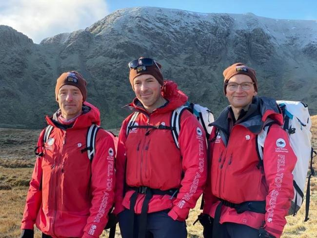 The Lake District National Park's newest Fell Top Assessor, Wes Hunter, with fellow Fell Top Assessors Zac Poulton and Jon Bennett at the 2019 winter season launch.