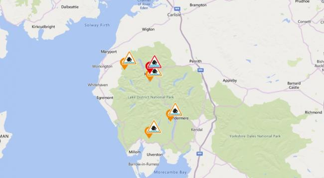 Flood Alerts for Cumbria, February 26 2020. Picture: Environment Agency