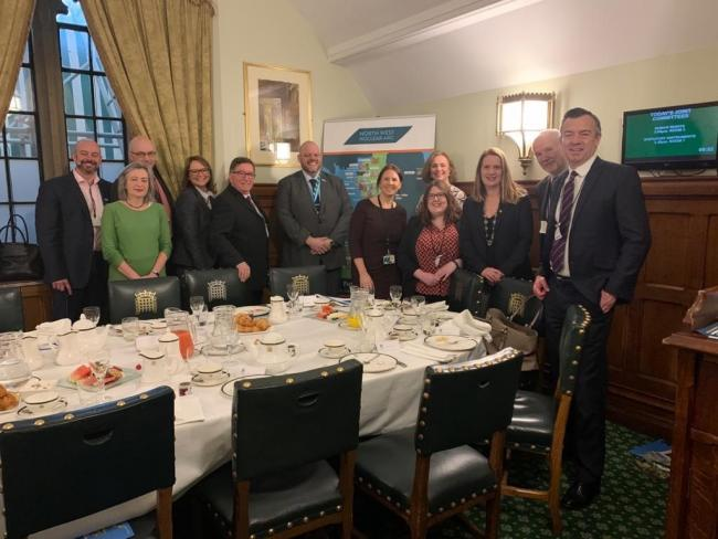 Attendees of the North West Nuclear Arc business breakfast in Whitehall included John Grainger, BECBC, Ivan Baldwin, NNL, Martin Chown, Sellafield Ltd, and MPs Trudy Harrison and Mark Jenkinson