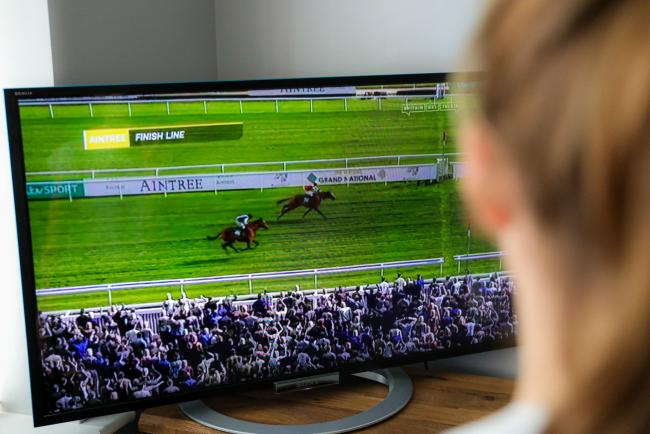The Virtual Grand National on a TV in a Derbyshire household. PA Photo. Picture date: Saturday April 4, 2020. With the real thing cancelled amid the coronavirus pandemic that has seen all racing in Britain suspended until at least the end of April, the Vi