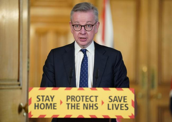 10 Downing Street handout photo of Chancellor of the Duchy of Lancaster Michael Gove speaking during a media briefing in Downing Street, London, on coronavirus (COVID-19). Issue date: Saturday April 4, 2020. See PA story HEALTH Coronavirus. Photo credit s