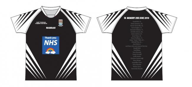 A Cumbria RL shirt is on sale to raise money for NHS charities and to remember those who died on June 2, 2010