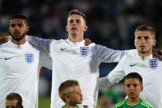 Whitehaven News: Henderson pictured singing the national anthem before England's 2019 UEFA European Under-21 Championship match against Croatia at The San Marino Stadium, Serravalle (photo: PA)