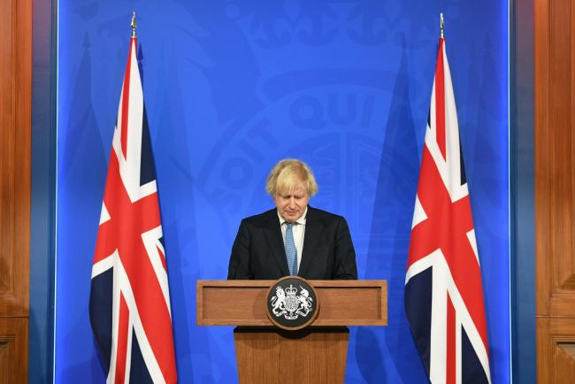 Prime Minister Boris Johnson, during a media briefing in Downing Street, London, on coronavirus (Covid-19). Picture date: Monday April 5, 2021. PA Photo. See PA story HEALTH Coronavirus. Photo credit should read: Stefan Rousseau/PA Wire.