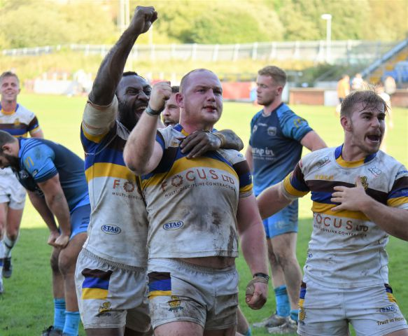 Hat-trick hero: Haven player-coach Carl Forster celebrates his third try against Coventry, a try that saw his side snatch victory (Photo: Ben Challis)