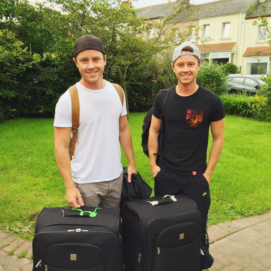 Bags packed: Matthew and Jeffrey Postlethwaite before they jetted off to Budapest to film The White King
