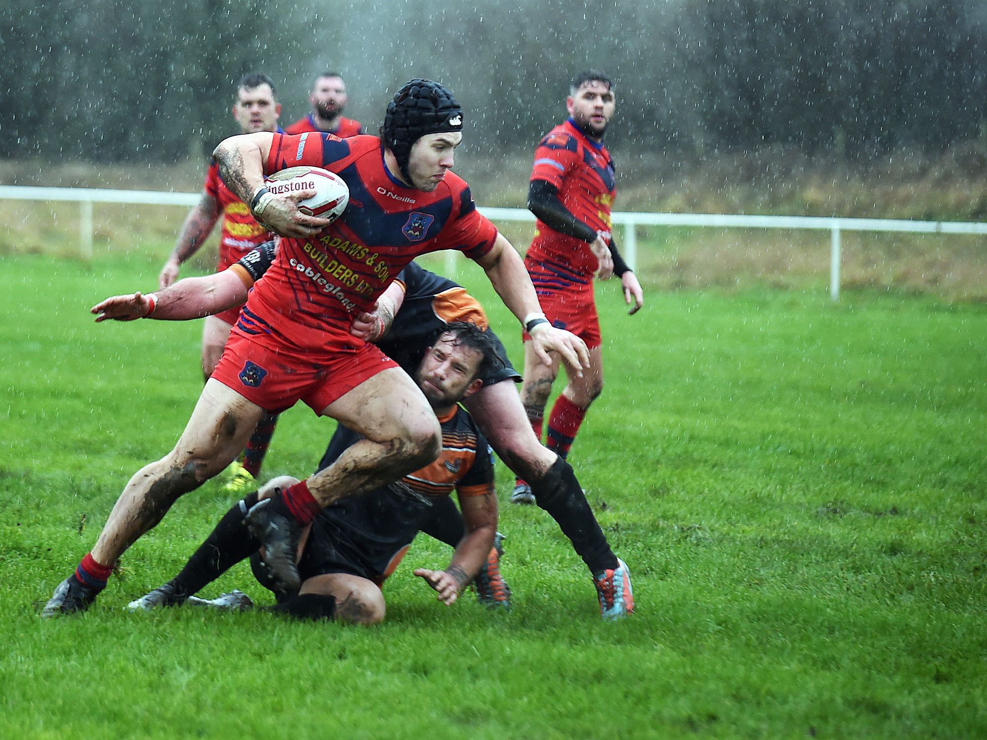Challenge Cup Distington's Bryan Ritchie runs the ball in strongly against Torfaen Tigers  pic Mike McKenzie