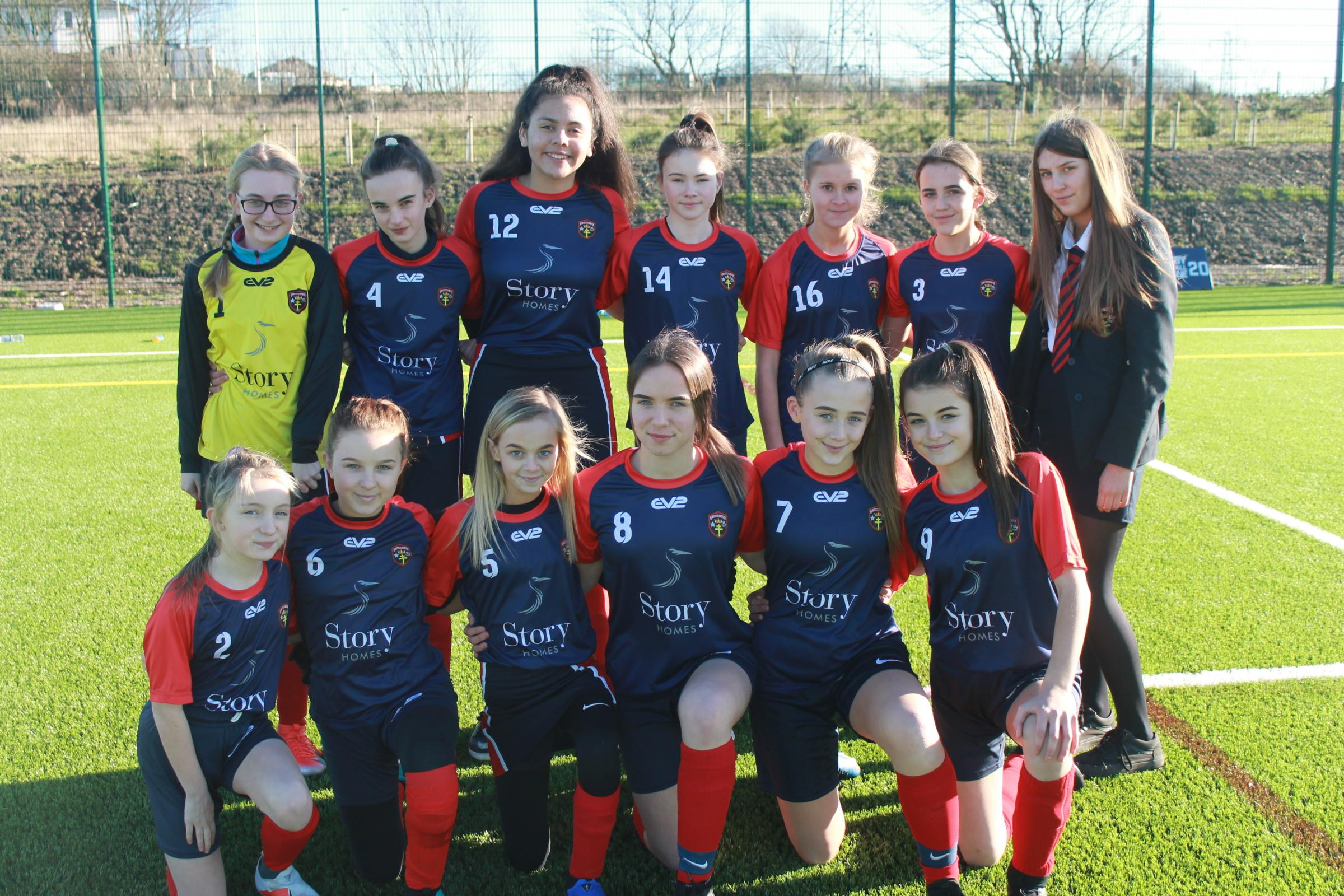 FINALISTS: St Benedict's Year 8 girls football team is into the county final
