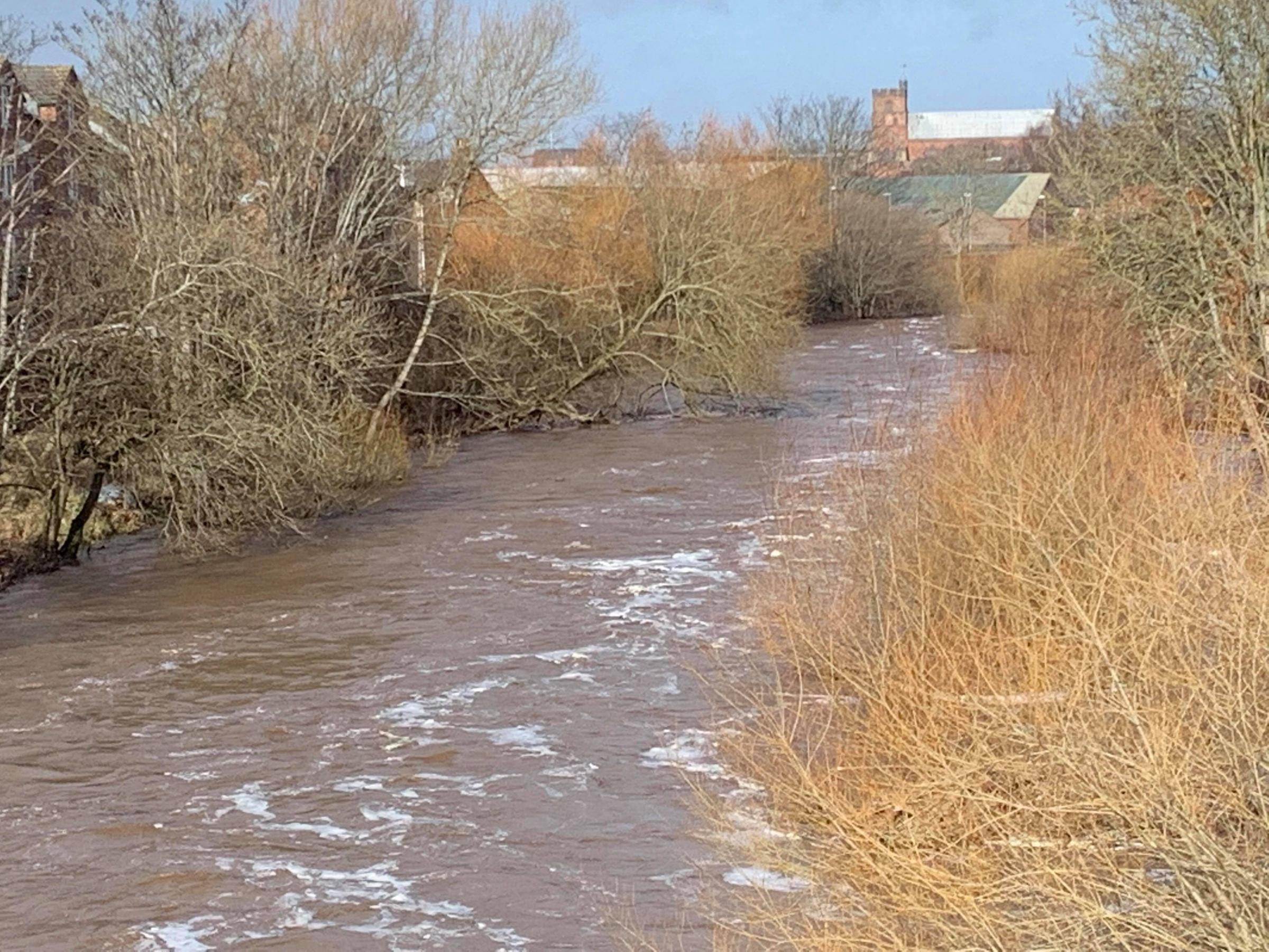 High water levels on the River Caldew in Carlisle