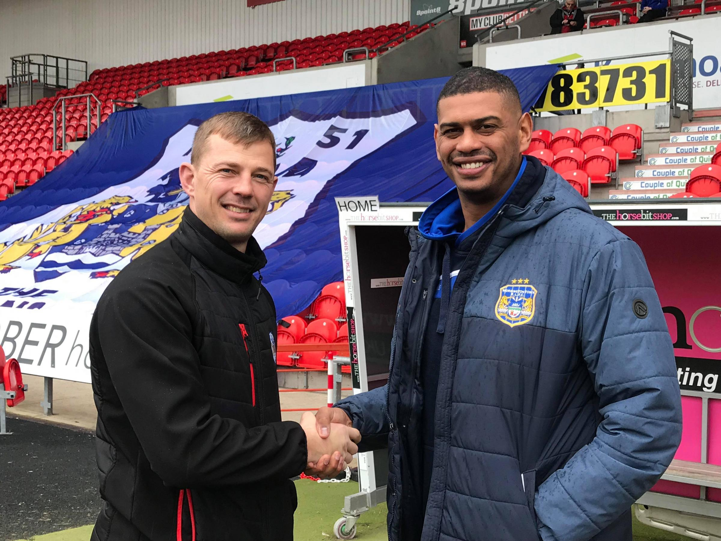 Doncaster boss Richard Horne with Workington Town coach Leon Pryce before today's match. Picture: Gary McKeating