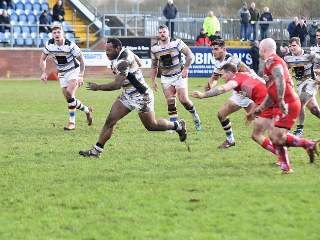 IN THE CLEAR: Haven's Dion Aiye makes a break against Doncaster