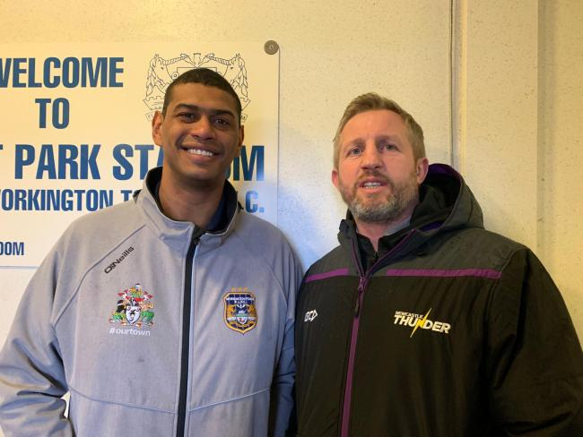 Workington Town coach Leon Pryce with Newcastle Thunder director of rugby Denis Betts. Picture: Gary McKeating