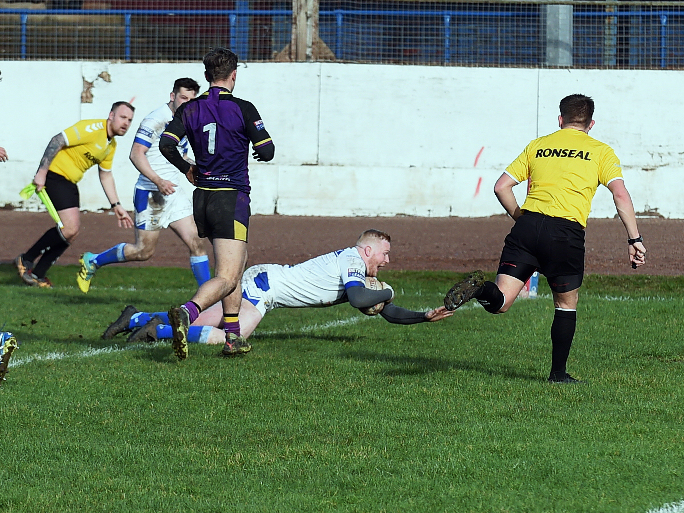 TRY-TIME: Perry Singleton dives over to score                             Mike McKenzie