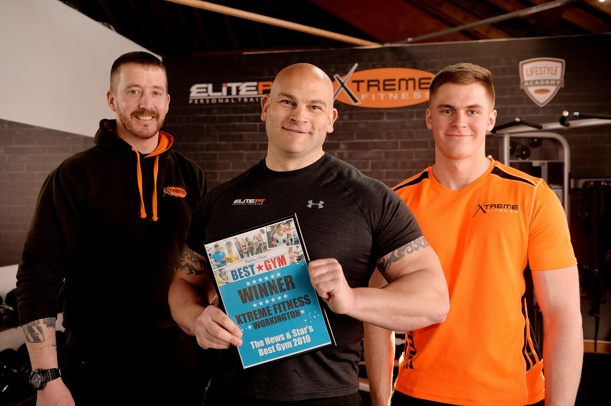 Xtreme Fitness won the News & Star 2019 Best Gym Award. Owner Lee Butterworth with staff Chris McClurry and Owen Harris